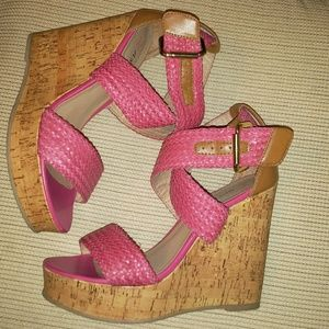 Braided leather strappy Pink cork wedges